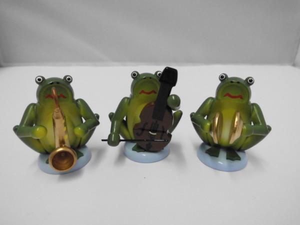 Froschmusikanten, 3 Stück, farbig, 4,5 cm, Nestler-Seiffen.com OHG Seiffen/ Erzgebirge