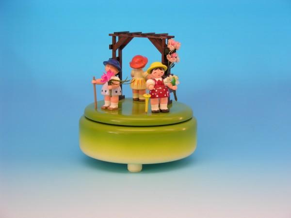 Spieluhr & Spieldose grün mit 3 Blumenkinder, 13,0 x 13,0 x 14,0 cm, Frieder & André Uhlig Seiffen/ Erzgebirge