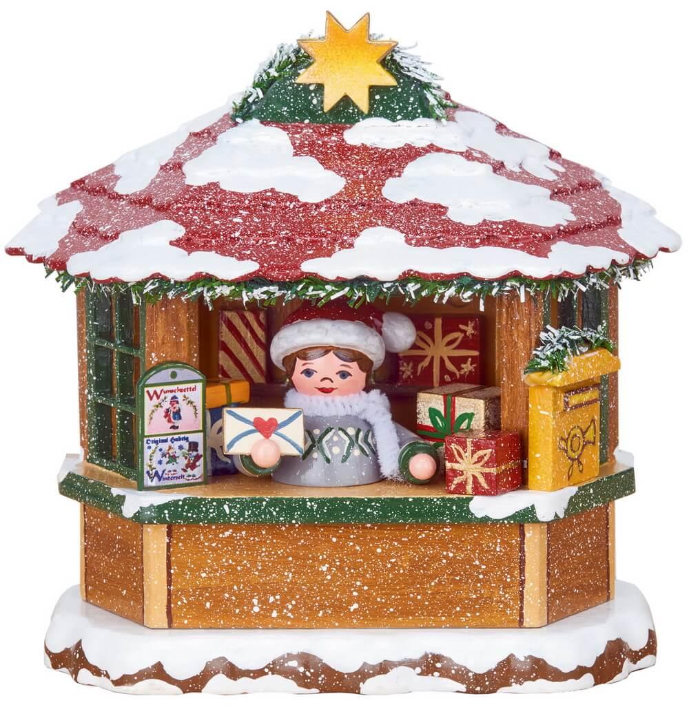Winterkinder Weihnachtspostamt, elektrisch beleuchtet von Hubrig Volkskunst Zschorlau/ Erzgebirge ist 10 cm groß.