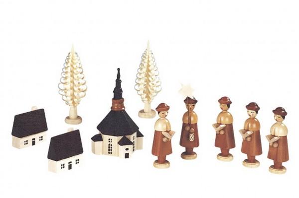 Knuth Neuber, Seiffener Kirche mit Kurrende und Spanbaum, natur