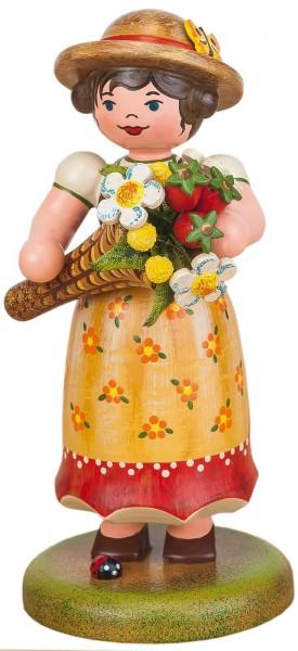 Mädchen mit Blumenstrauss aus Holz aus der Serie Hubrig Landidyll