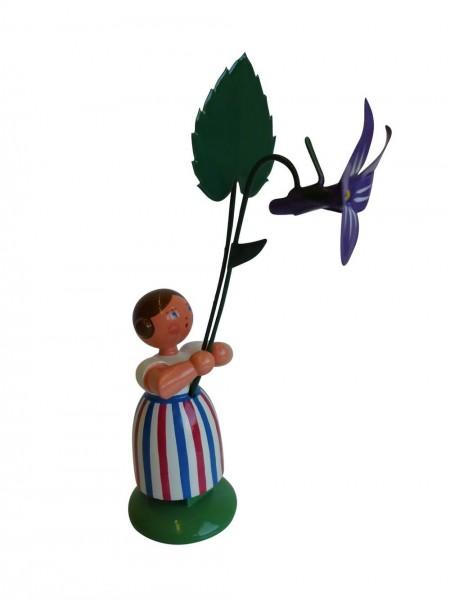 Blumenkinder - Feld- und Wiesenblumenkind Mädchen mit Veilchen, 11 cm von WEHA-Kunst Dippoldiswalde/ Erzgebirge