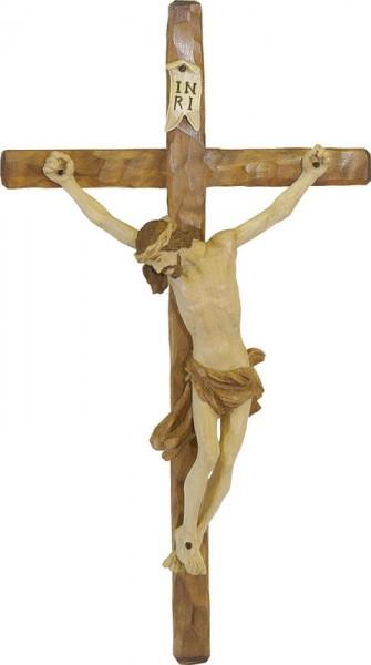 Kruzifix, gebeizt, geschnitzt, in verschiedenen Größen