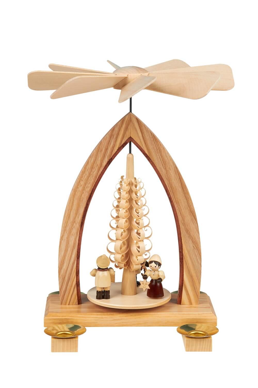 Weihnachtspyramide mit Lampionkinder, natur, 26 cm hergestellt von Heinz Lorenz Olbernhau/ Erzgebirge_Bild1