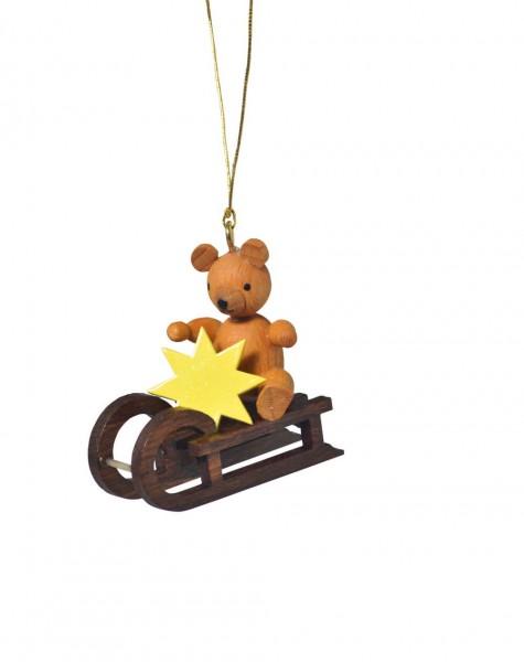 KWO Christbaumschmuck Teddy auf Schlitten zum Hängen für den Weihnachtsbaum