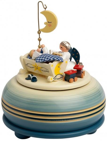 Spieluhr & Spieldose Gute Nacht, Melodie: Lalelu, 18 stimmiges, mechanisches Spielwerk, Farbe blau, 14 cm von KWO Kunstgewerbe-Werkstätten Olbernhau/ …