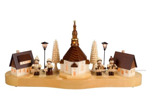 Sockelbrett von Nestler-Seiffen mit dem mittleren Seiffener Dorf und Romy Thiel Figuren, komplett elektrisch beleuchtet_Bild1