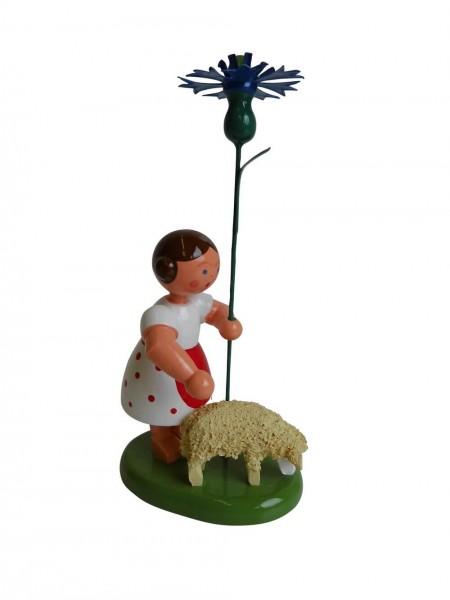 Blumenkinder - Blumenkind Mädchen mit Reifentier (Schaf) und Kornblume, 10 cm von WEHA-Kunst Dippoldiswalde/ Erzgebirge