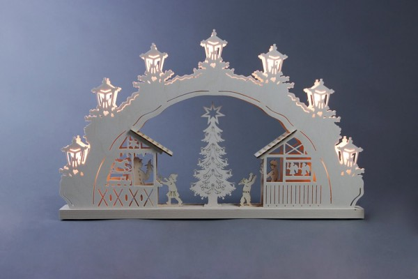 Schwibbogen Weihnachtsmarkt, 7 flammig, elektrisch beleuchtet, 52 x 32 x 4,5 cm von Weigla - Günter Gläser Deutschneudorf/ Erzgebirge Der …