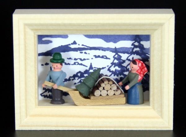 Miniatur im Rähmchen Holzsammler von Gunter Flath aus Seiffen / Erzgebirge Detailgetreue Nachbildung eines Holzsammlers aus früheren Zeiten. Dieser …