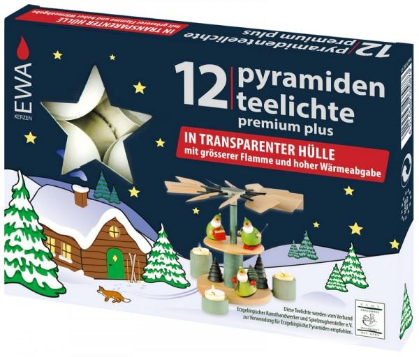 Pyramidenteelichter, Premium, 12 Stück