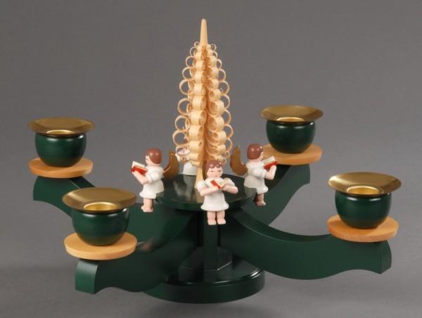 Adventsleuchter, grün - 4 sitzende farbige Engel, Adventsleuchter aus massivem Buchenholz, grün lackiert, Engel mit Gesangbuch gedrechselt und in Handarbeit …