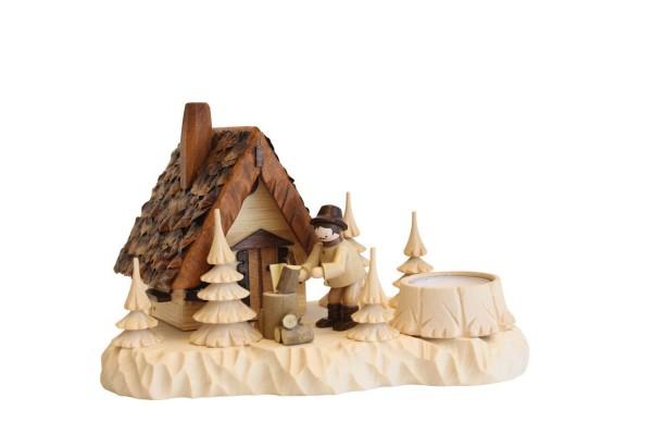 Räucherhaus - Räuchermännchen Wildhüterhütte mit Teelicht von A. Lahl_Bild2