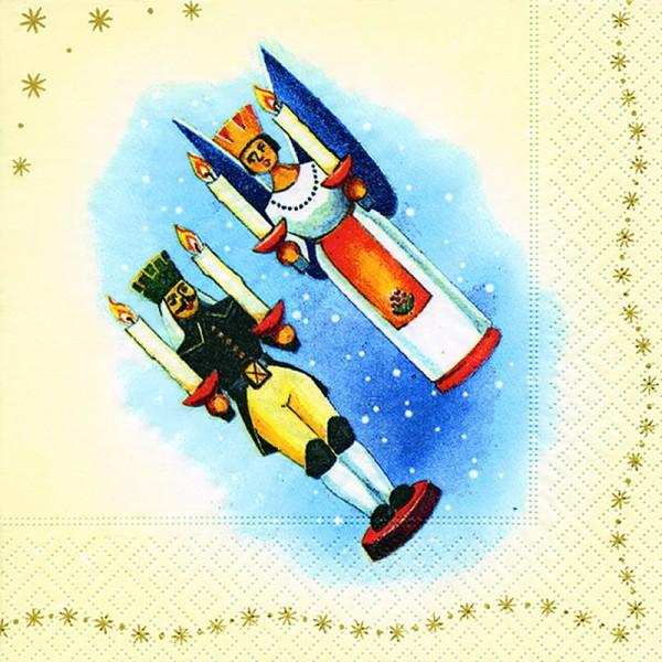 Weihnachtsservietten Motiv Engel und Bergmann, 20 Stück, 3 - lagig, 33 x 33 cm
