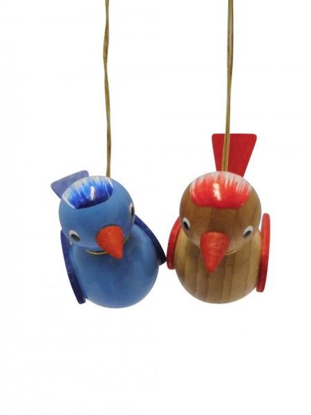 Vögel zum hängen, farbig, blau/ braun, 2 Stück, 5 x 4 cm von Nestler-Seiffen.com OHG Seiffen/ Erzgebirge