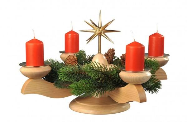 Adventsleuchter mit Weihnachtsstern und Tannenkranz, natur hergestellt von Albin Preißler_Bild1