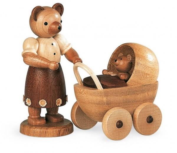 Dekofigur Bärenmutter mit Kinderwagen aus Holz, naturfarben von Müller Kleinkunst aus Seiffen