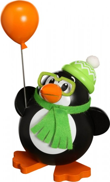 Lustiger Räuchermann Tiermotiv Pinguin mit Luftballon