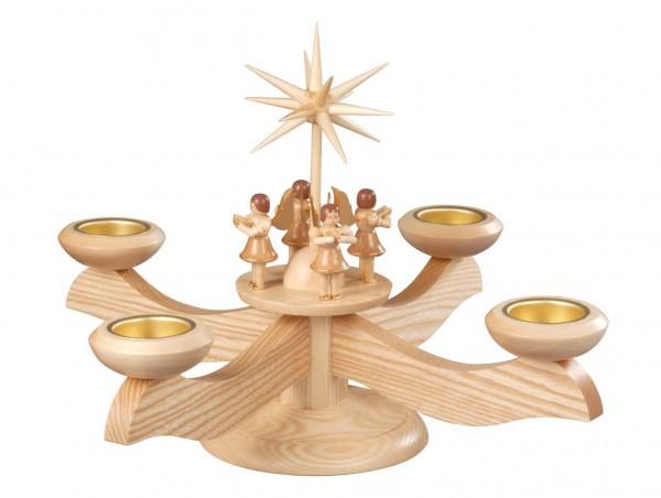 Albin Preißler Adventsleuchter mit 4 stehenden Engeln, natur, für Teelichter
