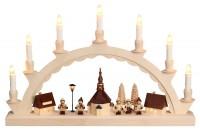 Vorschau: Schwibbogen mit dem Motiv Seiffener Dorf und mit Romy Thiel Kindern, elektrisch beleuchtet von Nestler-Seiffen_Bild1