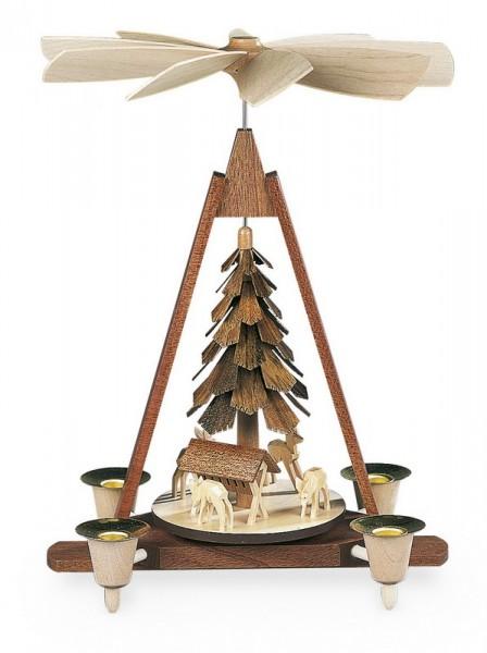 Weihnachtspyramide Rehe geschnitzt, natur, 21 x 14 x 30 cm, Müller GmbH Kleinkunst aus dem Erzgebirge