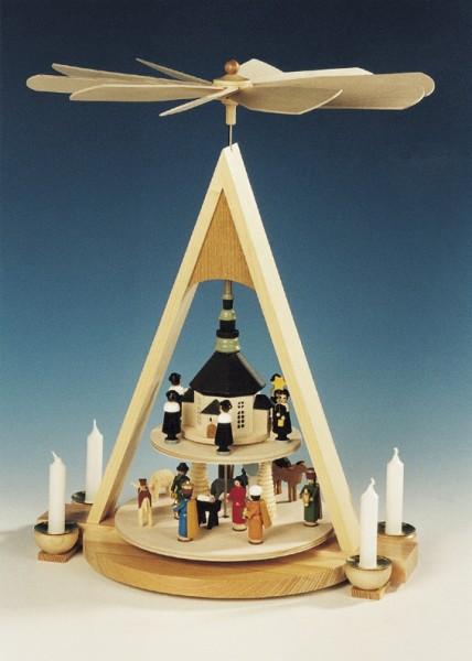 Weihnachtspyramide Seiffener Christi Geburt, 2 - stöckig, Knuth Neuber Seiffen/ Erzgebirge