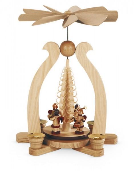 Weihnachtspyramide & Bogenpyramide mit Musikengel und Spanbaum, natur, 22 x 15 x 29 cm, Müller GmbH Kleinkunst aus dem Erzgebirge