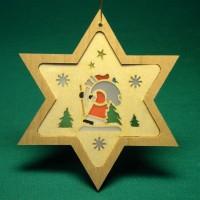 Vorschau: Stern mit Diaphanbild Weihnachtsmann, 8 cm, Richard Glässer GmbH Seiffen/ Erzgebirge