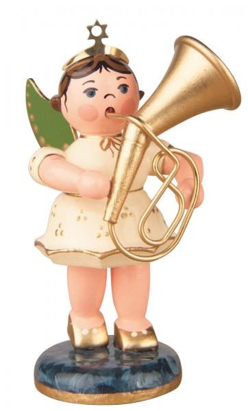 Hubrig Volkskunst Weihnachtsengel mit Tenorhorn aus Holz