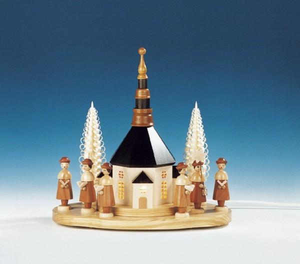 Sockelbrett Seiffener Kirche mit großer Kurrende, komplett elektrisch beleuchtet, 31 x 33 cm, Knuth Neuber Seiffen/ Erzgebirge