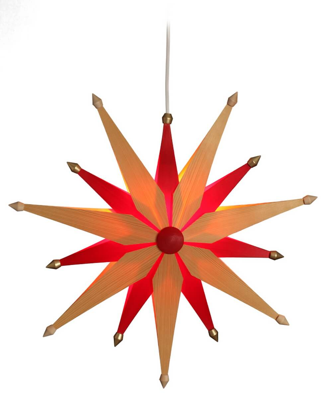 Eckert, Weihnachtsstern exklusiv, natur und rot beleuchtet