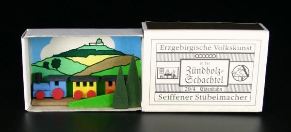 Zündholzschachtel Eisenbahn von Gunter Flath aus Seiffen / Erzgebirge Detailgetreue Nachbildung einer Eisenbahn aus früheren Zeiten. Dieses Motiv wurde in …