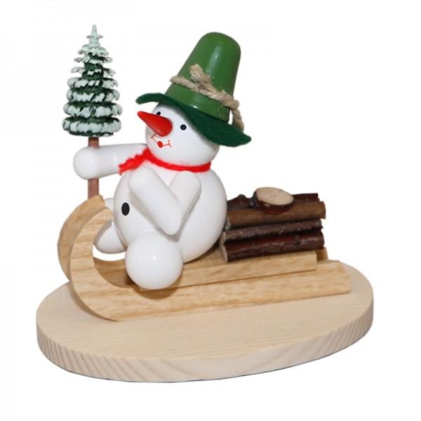 Schneemann auf Holzschlitten, 8 cm, Volker Zenker Seiffen/ Erzgebirge