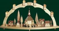 Vorschau: Schwibbogen Seiffener Kirche mit Dorf, komplett elektrisch beleuchtet, 41 x 80 cm, Richard Glässer GmbH Seiffen/ Erzgebirge