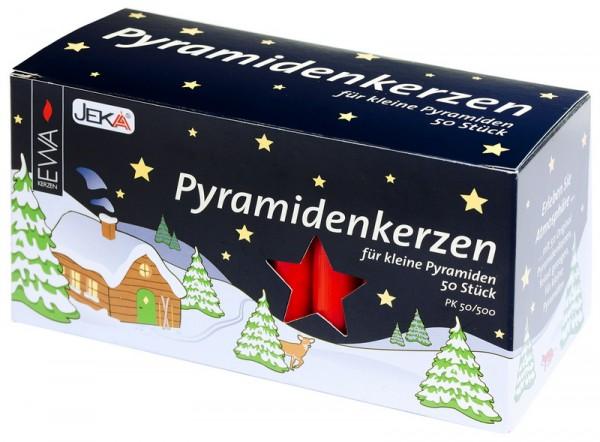 Kerzen für Weihnachtspyramiden, rot, 50 Stück