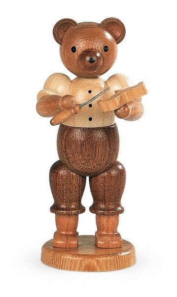 Dekofigur Bär Schnitzer aus Holz, naturfarben von Müller Kleinkunst aus Seiffen