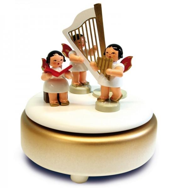 Spieluhr & Spieldose mit 3 Weihnachtsengel, rote Flügel, 13 cm, Frieder & André Uhlig Seiffen/ Erzgebirge