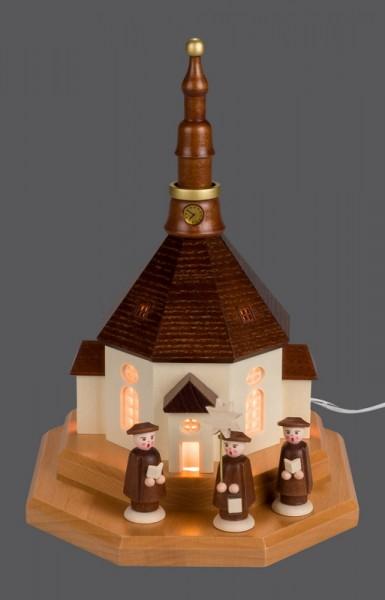Sockelbrett Seiffener Kirche mit Kurrende, komplett elektrisch beleuchtet, 10 x 22 cm, Nestler-Seiffen.com OHG Seiffen/ Erzgebirge
