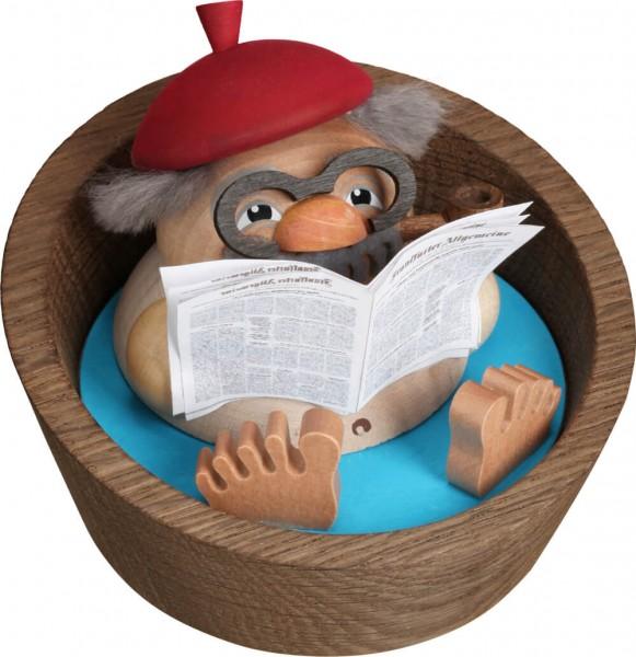 lustigeres Räuchermännchen Opa Albert im Pool mit Zeitung