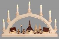 Vorschau: Schwibbogen mit dem Motiv Seiffener Dorf und mit Romy Thiel Kindern, elektrisch beleuchtet von Nestler-Seiffen_Bild3