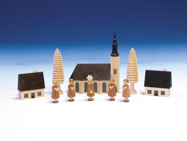 Kurrende mit Schneeberger Kirche, natur, natur, 13 cm, Knuth Neuber Seiffen/ Erzgebirge
