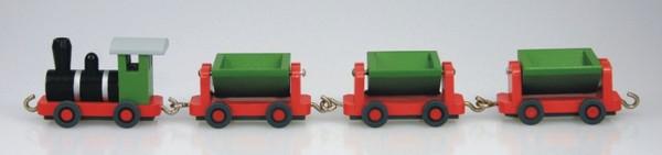 Holzeisenbahn, Grubenbahn von Stephan Kaden holz.kunst Seiffen/Erzgebirge. Glück Auf ! Mit dieser Grubenbahn aus Holz, bunt und von einer Größe von 26 cm, …
