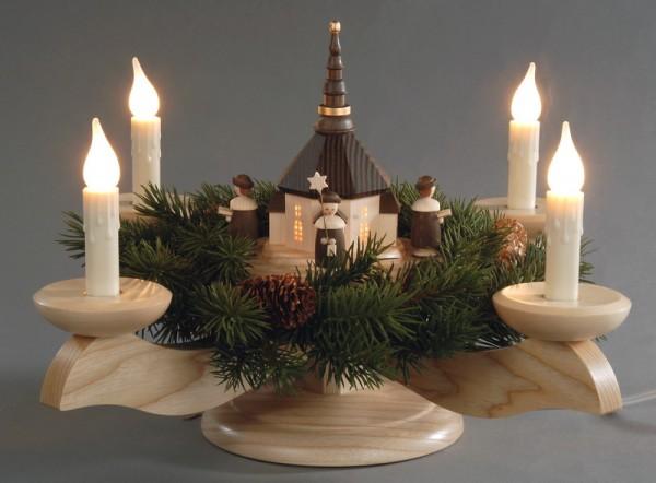Adventsleuchter, natur - Seiffener Kirche mit Kurrende und Tannenkranz, elektrisch beleuchtet, Adventsleuchter aus massivem Eschen- und Ahornholz, …
