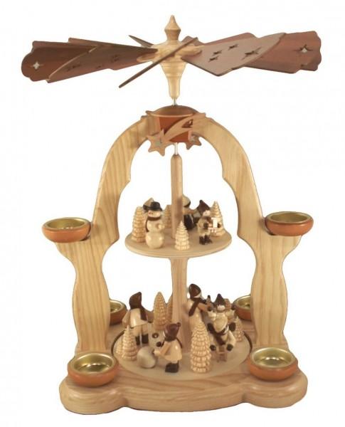 Weihnachtspyramide Winterkinder, 2-stöckigfür Teelichter, natur, 40 cm, Legler Holz- und Drechslerwaren Olbernhau/ Erzgebirge