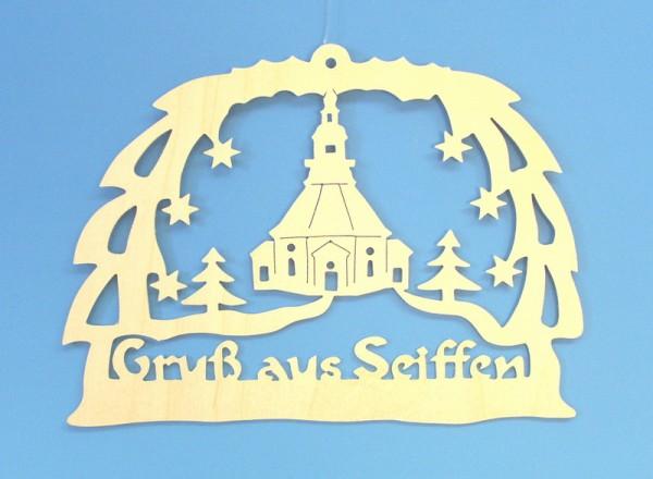 Weihnachtlicher Fensterschmuck Gruß aus Seiffen mit Kirche natur, 17,5 x 14 x 0,3 cm, Gerd Hofmann Seiffen/ Erzgebirge