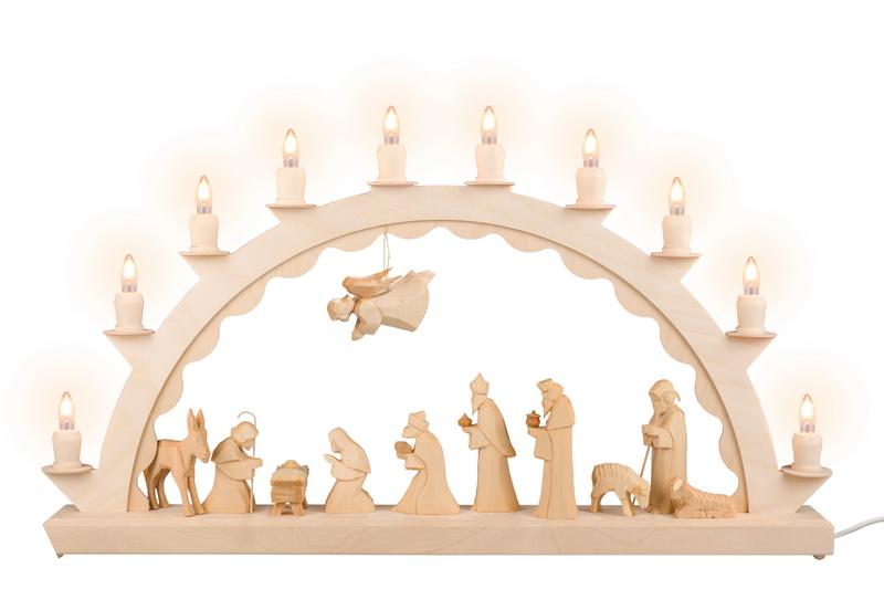 LED Schwibbogen mit großer Christi Geburt, geschnitzt, elektrisch beleuchtet mit LED, 60 cm x 29 cm, Ersatzkerzen: EL55LED, Nestler-Seiffen.com OHG Seiffen/ …