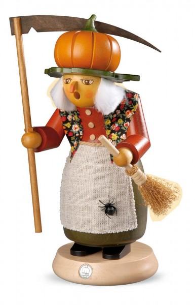 Räuchermann Halloween Hexe mit Kürbis aus Holz von Müller Kleinkunst aus Seiffen