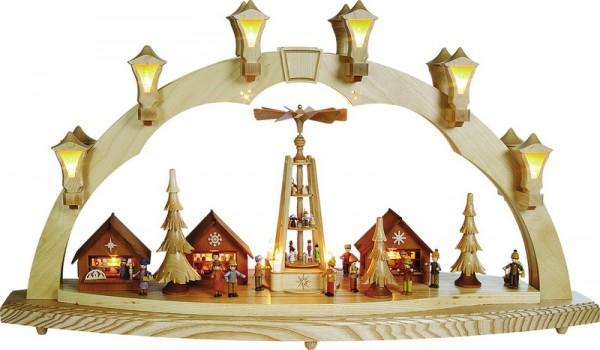 Schwibbogen Weihnachtsmarkt, komplett elektrisch beleuchtet, 43 cm x 80 cm, Richard Glässer GmbH Seiffen/ Erzgebirge