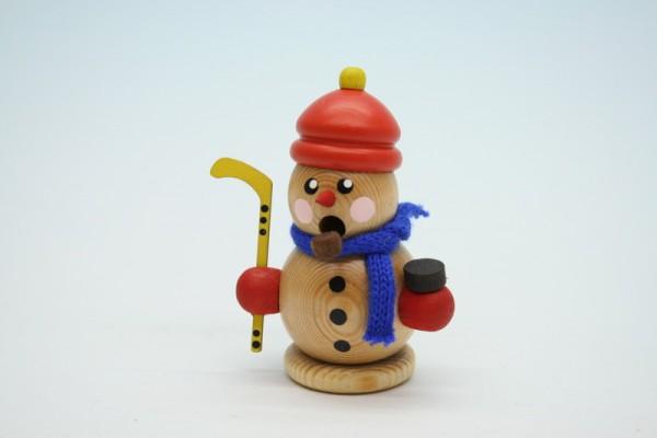 Räuchermann Schneemann Hockeyspieler mit Mütze natur, 8 cm, Gerd Hofmann Seiffen/ Erzgebirge