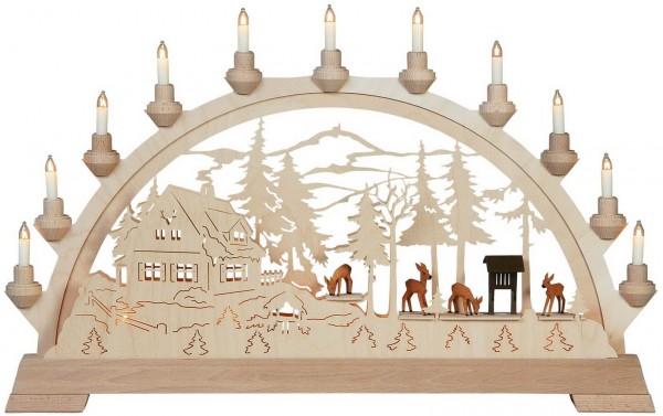 KWO Schwibbogen Motiv Forsthaus mit geschnitzten Rehen aus dem Erzgebirge elektrisch beleuchtet